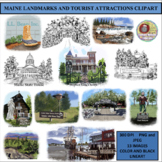 MAINE LANDMARKS AND TOURIST ATTRACTIONS CLIPART, STICKERS