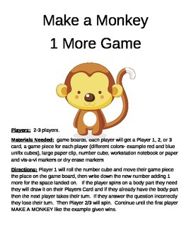 MAKE A MONKEY  1 More/Less, 10 More/Less, 100 More/Less Game