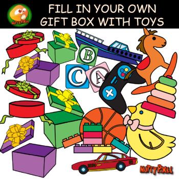 MAKE YOUR OWN GIFT BOX WITH TOYS - CLIPART