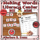 MAKING WORDS LITERACY CENTER Bee Mine Word Work ELA Valentine's Day Activity