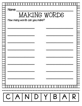 MAKING WORDS-CANDYBAR