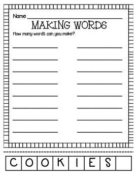 MAKING WORDS-COOKIES