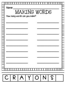 MAKING WORDS-CRAYONS