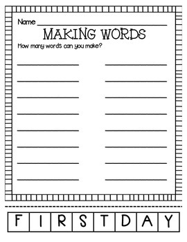 MAKING WORDS-FIRST DAY