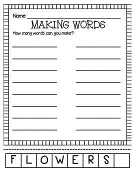 MAKING WORDS-FLOWERS
