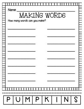 MAKING WORDS-PUMPKINS