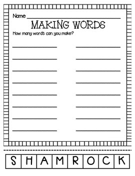 MAKING WORDS-SHAMROCK
