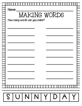 MAKING WORDS-SUNNY DAY