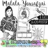 MALALA YOUSAFZAI, WOMEN'S HISTORY, BIOGRAPHY, TIMELINE, SKETCHNOTES, POSTER