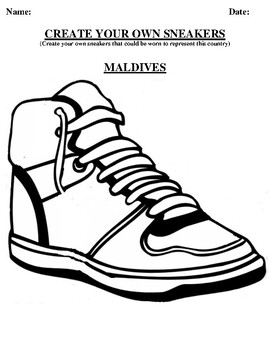 MALDIVES Design your own sneaker and writing worksheet