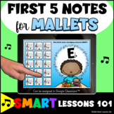 MALLET PERCUSSION 1st 5 Notes BOOM CARDS™ Beginner Band Mu