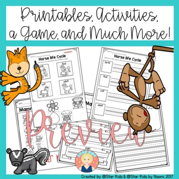 MAMMALS CHARACTERISTICS -Life Cycle, Activities and Printables for K-1