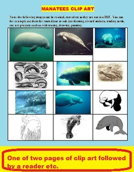 MANATEES (CLIPART, FUN, SCIENCE AND READING, TEST, 25 PAGES)