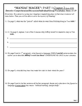 MANIAC MAGEE Activity/Assessment CCSS 300 Page Reading Unit