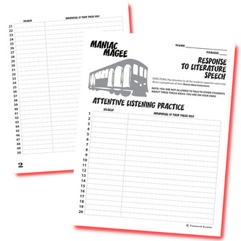 MANIAC MAGEE Essay Prompts & Grading Rubrics