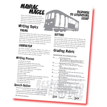 maniac magee essay prompts grading rubrics by created for learning maniac magee essay prompts grading rubrics