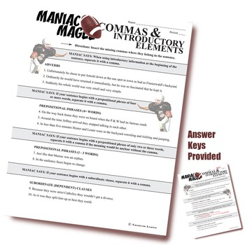 MANIAC MAGEE Grammar Commas Introductory Elements