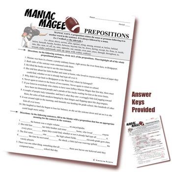 MANIAC MAGEE Grammar Prepositions