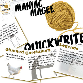 MANIAC MAGEE Journal - Quickwrite Writing (Created for Digital)