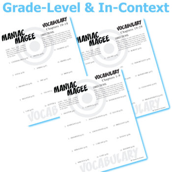 MANIAC MAGEE Vocabulary Complete Novel (75 words)
