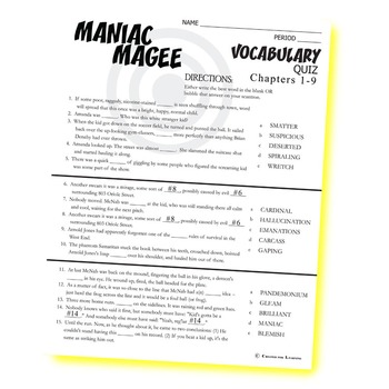 MANIAC MAGEE Vocabulary List and Quiz (chapters 1-9)