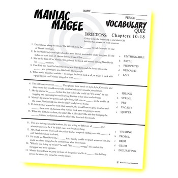 MANIAC MAGEE Vocabulary List and Quiz (chapters 10-18)