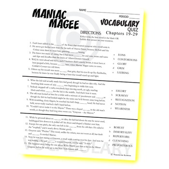MANIAC MAGEE Vocabulary List and Quiz (chapters 19-29)