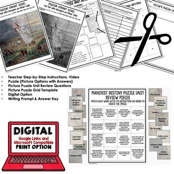 MANIFEST DESTINY Picture Puzzle Unit Review, Study Guide, Test Prep