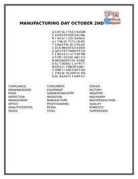 MANUFACTURING DAY OCTOBER 2ND/ WORD SEARCH