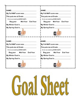 MAP Goal Setting Sheet for Interactive Notebook