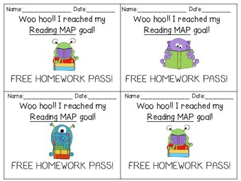 MAP Goals Free Homework Passes