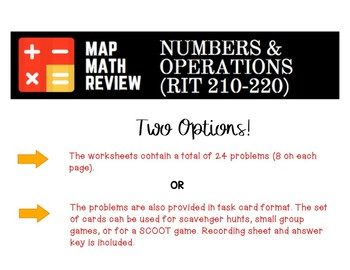 MAP Math Practice: Numbers and Operations (RIT Band 210-220)