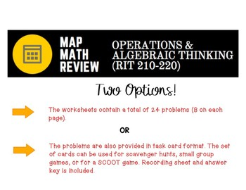 MAP Math Test Practice: Operations and Algebraic Thinking (RIT Band 210-220)
