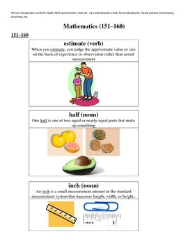 MAP Math Vocabulary Picture Cards Intervals 151-160