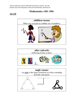 MAP Math Vocabulary Picture Cards Intervals 181-190