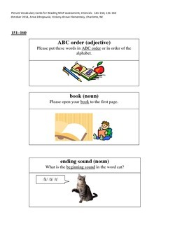 MAP Reading Picture Vocabulary Cards 141-150 & 151-160