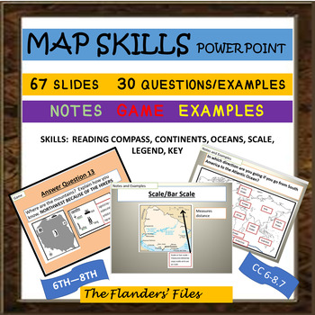 MAP SKILLS POWER POINT WITH NOTES, EXAMPLES, AND A GAME