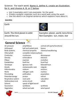 MAP Science Vocabulary Work