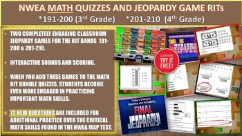 MAP TEST MATH NWEA Bundle RITs 191-210 (3rd/4th Grade) Quizzes and Games