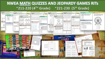 MAP TEST MATH NWEA Bundle RITs 211-230 (5th/6th Grade) Quizzes and Games