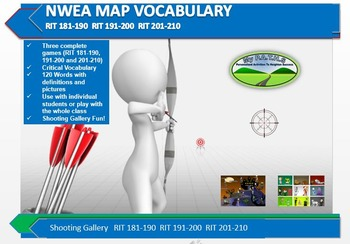 MAP TEST READING NWEA VOCAB GAME - Shooting Gallery  RIT 181-190 191-200 201-210