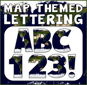 MAP THEMED LETTERS, NUMBERS AND PUNCTUATION - DISPLAY LETTERING WORLD GEOGRAPHY