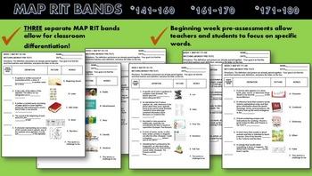 MAP TEST READING QUIZZES THREE RIT READING BUNDLE (141-160