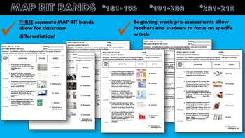 MAP TESTING READING QUIZZES THREE RIT READING BUNDLE (181-190, 191-200, 201-210)