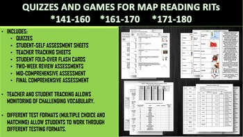 MAP THREE RIT READING VOCAB QUIZZES W/ GAMES BUNDLE (141-160, 161-170, 171-180)