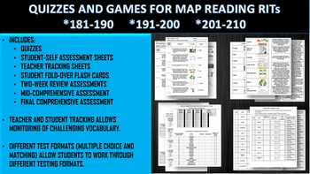 MAP THREE RIT READING QUIZZES AND SIX GAME BUNDLE (181-190, 191-200, 201-210)