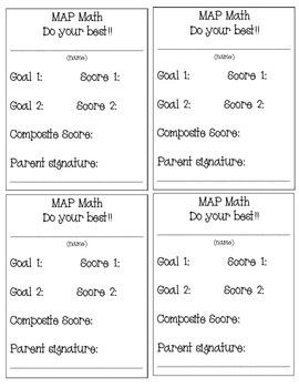 MAP Test Goal Cards- Math