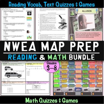 MAP Test READING and MATH NWEA Bundle (ALL RIT Quizzes and