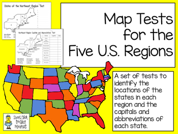 MAP Tests for the Five U.S. Regions - Two Tests Per Region with Keys