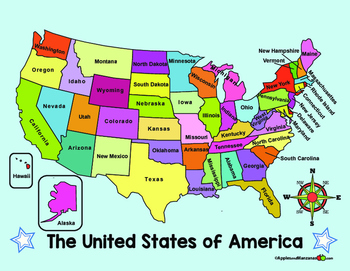 united states map compass Map Of The Us And Compass Rose In English By Apples And Manzanas